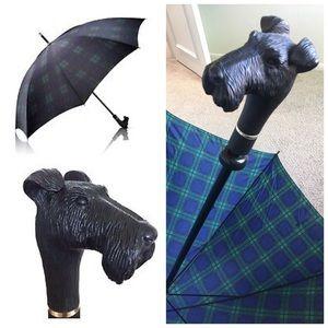 Vintage Aramis tartan plaid Scottie dog umbrella